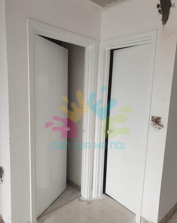 Thợ sơn cửa gỗ màu trắng giá rẻ ở Hà Nội